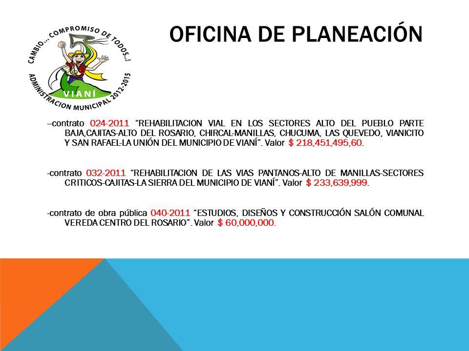 OFICINA DE PLANEACIÓN --contrato 024-2011 REHABILITACION VIAL EN LOS SECTORES ALTO DEL PUEBLO PARTE BAJA,CAJITAS-ALTO DEL ROSARIO, CHIRCAL-MANILLAS, C