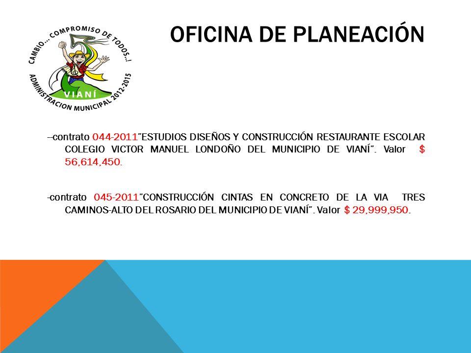OFICINA DE PLANEACIÓN --contrato 044-2011ESTUDIOS DISEÑOS Y CONSTRUCCIÓN RESTAURANTE ESCOLAR COLEGIO VICTOR MANUEL LONDOÑO DEL MUNICIPIO DE VIANÍ. Val