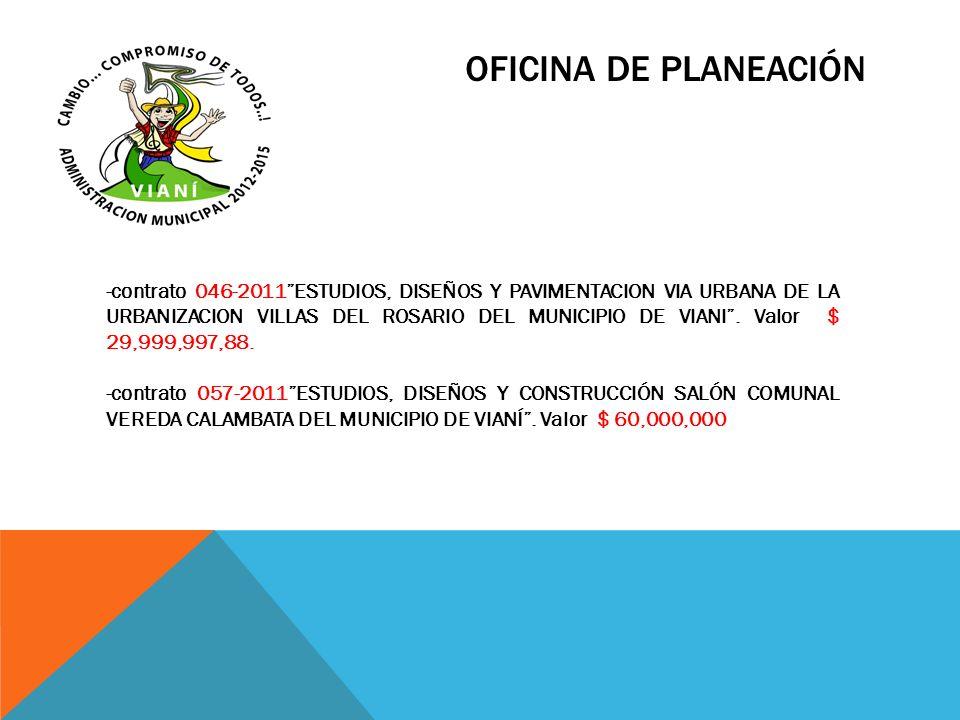OFICINA DE PLANEACIÓN -contrato 046-2011ESTUDIOS, DISEÑOS Y PAVIMENTACION VIA URBANA DE LA URBANIZACION VILLAS DEL ROSARIO DEL MUNICIPIO DE VIANI. Val