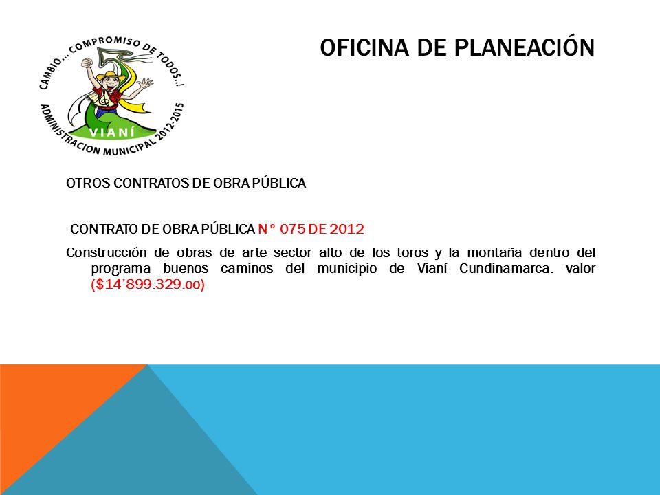 OFICINA DE PLANEACIÓN OTROS CONTRATOS DE OBRA PÚBLICA -CONTRATO DE OBRA PÚBLICA N° 075 DE 2012 Construcción de obras de arte sector alto de los toros
