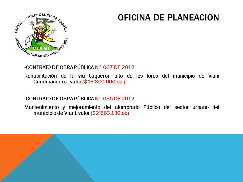 OFICINA DE PLANEACIÓN -CONTRATO DE OBRA PÚBLICA N° 067 DE 2012 Rehabilitación de la vía boquerón alto de los toros del municipio de Viani Cundinamarca