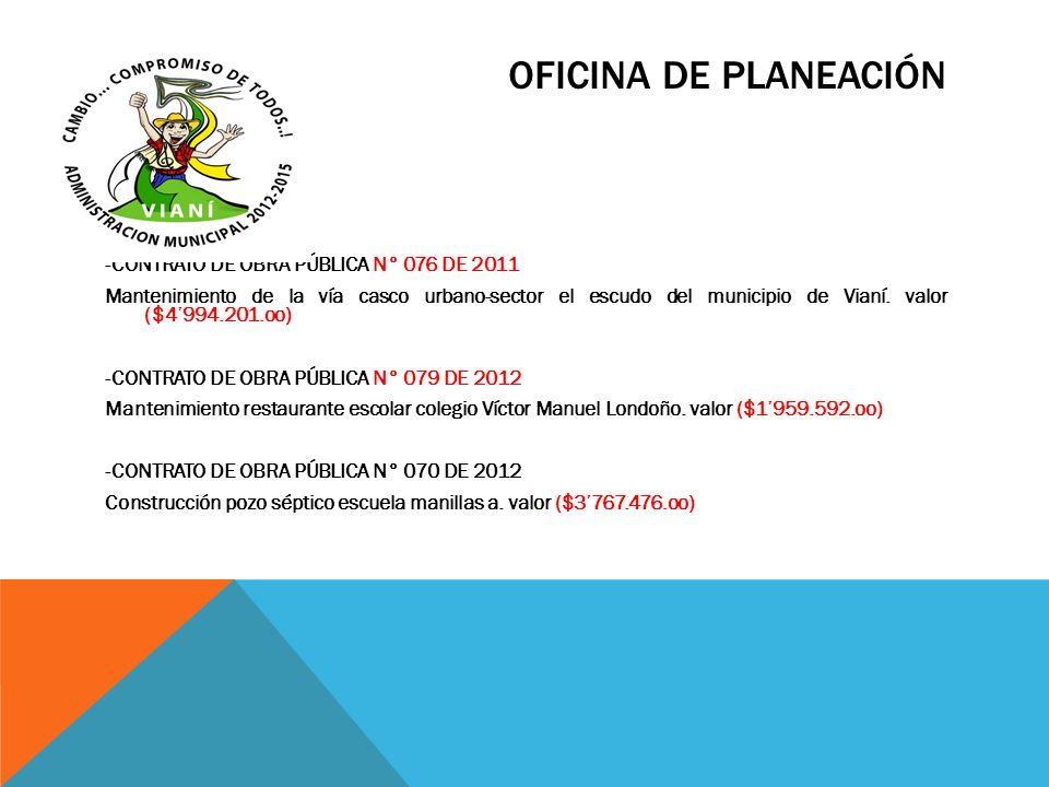 OFICINA DE PLANEACIÓN -CONTRATO DE OBRA PÚBLICA N° 076 DE 2011 Mantenimiento de la vía casco urbano-sector el escudo del municipio de Vianí. valor ($4