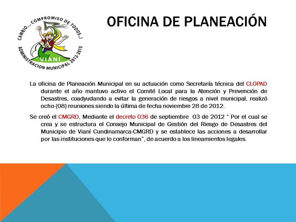 OFICINA DE PLANEACIÓN La oficina de Planeación Municipal en su actuación como Secretaría técnica del CLOPAD durante el año mantuvo activo el Comité Lo