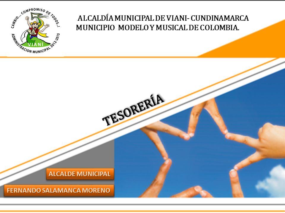 ALCALDÍA MUNICIPAL DE VIANI- CUNDINAMARCA MUNICIPIO MODELO Y MUSICAL DE COLOMBIA. FERNANDO SALAMANCA MORENO ALCALDE MUNICIPAL TESORERÍATESORERÍA