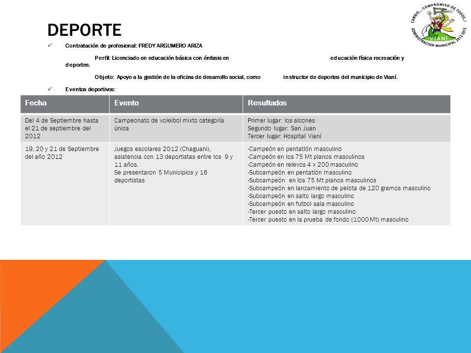 DEPORTE Contratación de profesional: FREDY ARGUMERO ARIZA Perfil: Licenciado en educación básica con énfasis en educación física recreación y deportes