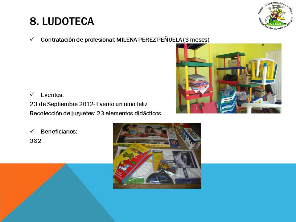 8. LUDOTECA Contratación de profesional: MILENA PEREZ PEÑUELA (3 meses) Eventos: 23 de Septiembre 2012- Evento un niño feliz Recolección de juguetes: