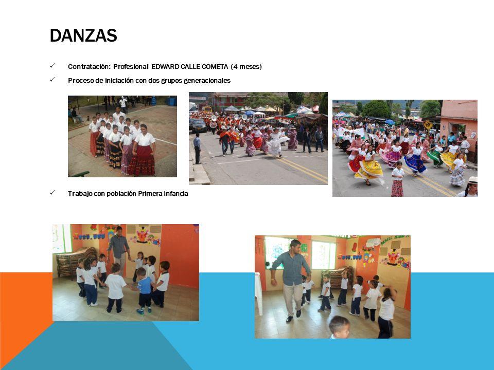 DANZAS Contratación: Profesional EDWARD CALLE COMETA (4 meses) Proceso de iniciación con dos grupos generacionales Trabajo con población Primera Infan