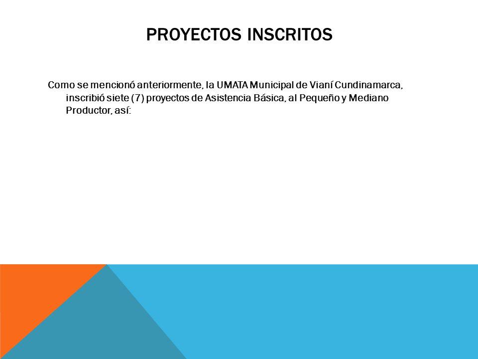 Como se mencionó anteriormente, la UMATA Municipal de Vianí Cundinamarca, inscribió siete (7) proyectos de Asistencia Básica, al Pequeño y Mediano Pro