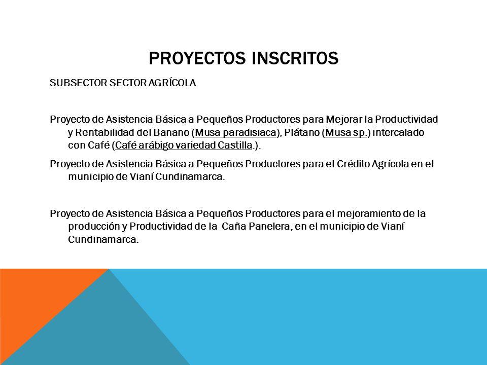 PROYECTOS INSCRITOS SUBSECTOR SECTOR AGRÍCOLA Proyecto de Asistencia Básica a Pequeños Productores para Mejorar la Productividad y Rentabilidad del Ba