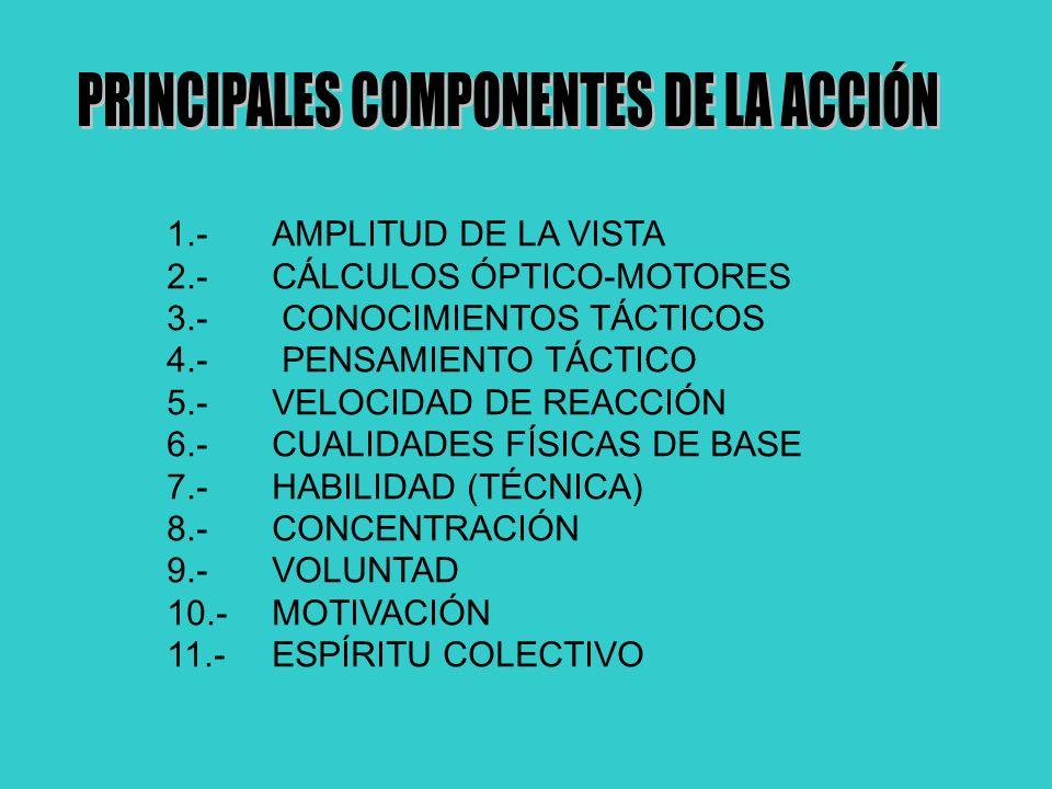 1.-AMPLITUD DE LA VISTA 2.-CÁLCULOS ÓPTICO-MOTORES 3.- CONOCIMIENTOS TÁCTICOS 4.- PENSAMIENTO TÁCTICO 5.-VELOCIDAD DE REACCIÓN 6.-CUALIDADES FÍSICAS D