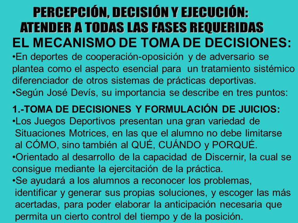 EL MECANISMO DE TOMA DE DECISIONES: En deportes de cooperación-oposición y de adversario se plantea como el aspecto esencial para un tratamiento sisté