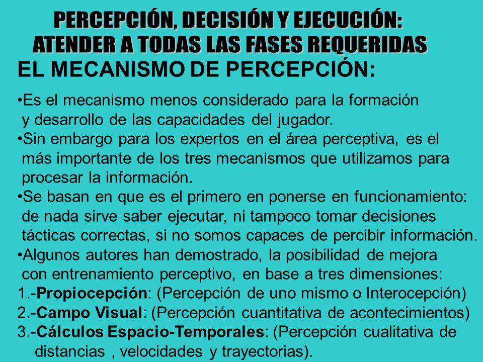 EL MECANISMO DE PERCEPCIÓN: Es el mecanismo menos considerado para la formación y desarrollo de las capacidades del jugador. Sin embargo para los expe