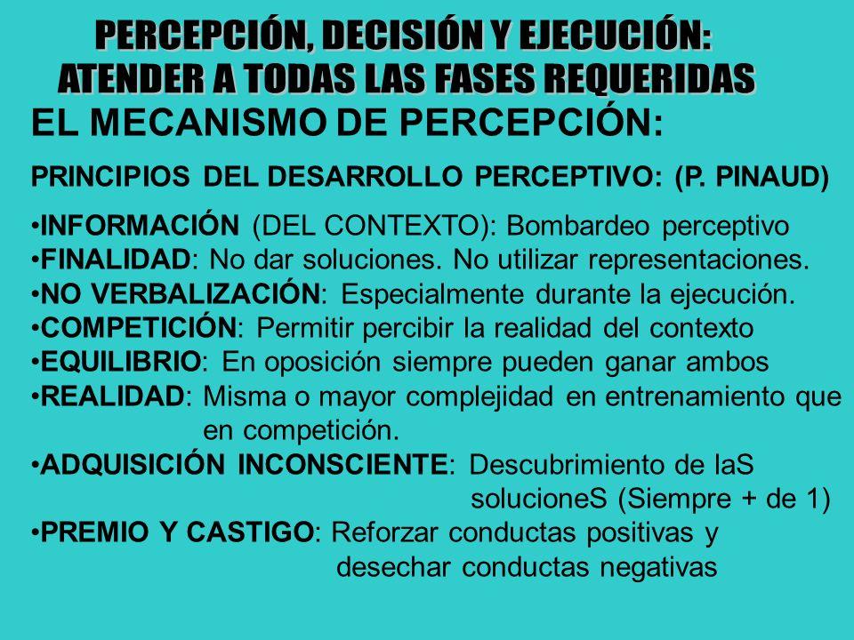 EL MECANISMO DE PERCEPCIÓN: PRINCIPIOS DEL DESARROLLO PERCEPTIVO: (P. PINAUD) INFORMACIÓN (DEL CONTEXTO): Bombardeo perceptivo FINALIDAD: No dar soluc