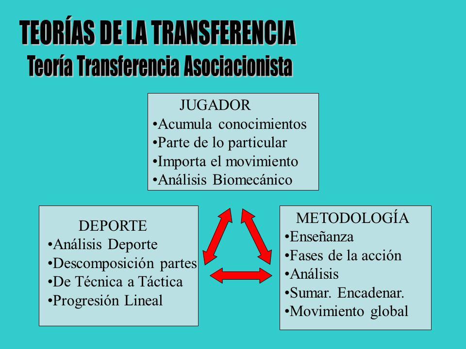 JUGADOR Acumula conocimientos Parte de lo particular Importa el movimiento Análisis Biomecánico DEPORTE Análisis Deporte Descomposición partes De Técn