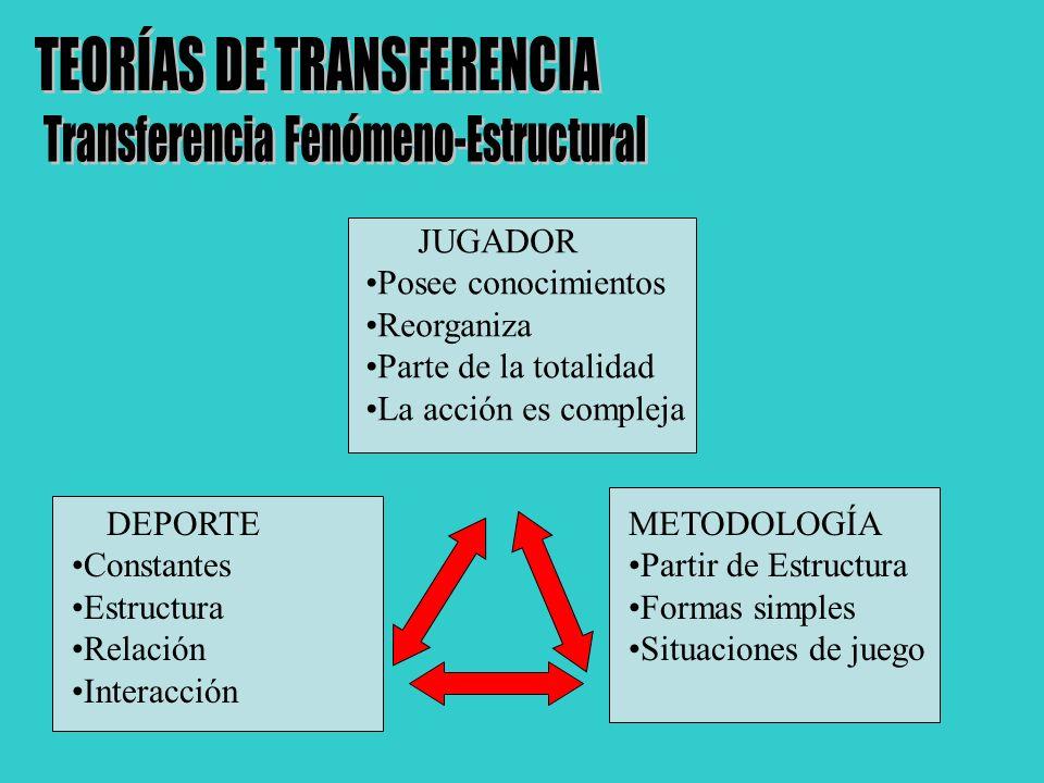 JUGADOR Posee conocimientos Reorganiza Parte de la totalidad La acción es compleja DEPORTE Constantes Estructura Relación Interacción METODOLOGÍA Part
