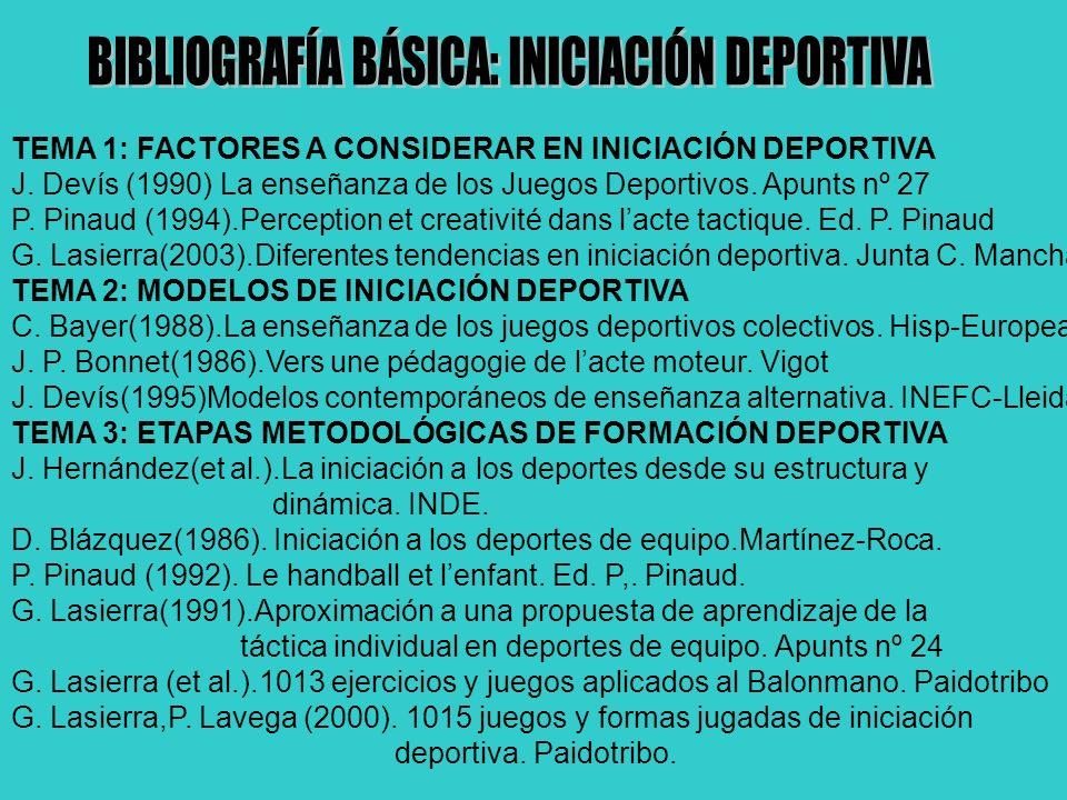 TEMA 1: FACTORES A CONSIDERAR EN INICIACIÓN DEPORTIVA J. Devís (1990) La enseñanza de los Juegos Deportivos. Apunts nº 27 P. Pinaud (1994).Perception
