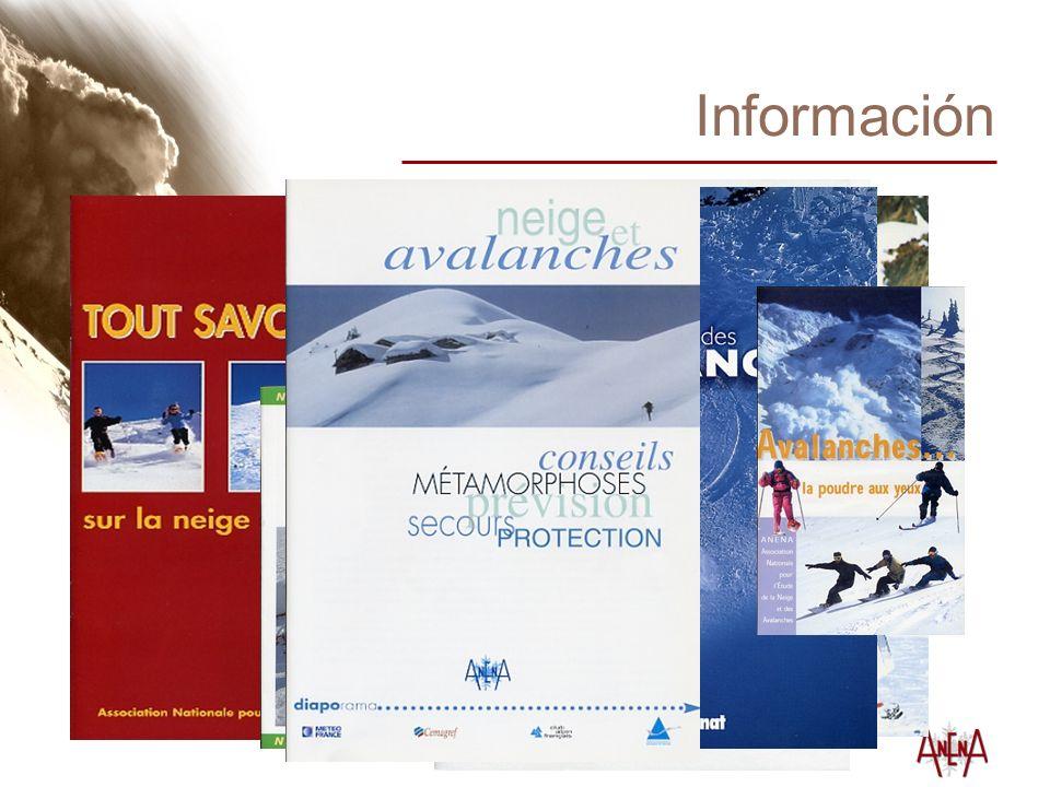 Información Revista trimestral « Neige et Avalanches » (Nieve y Aludes) Realización y venta de documentos (escritos y audiovisuales) Centro de documentación