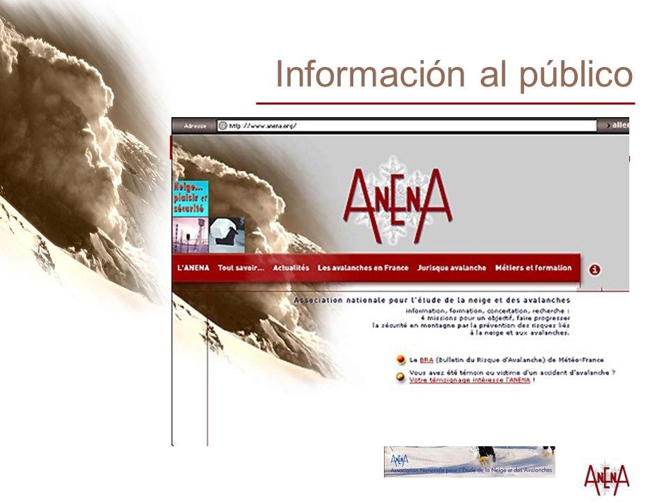 Información al público Prospectos (esquí de montaña, raquetas, fuera-pista) Sitio web : www.anena.org Artículos, entrevistas Conferencias