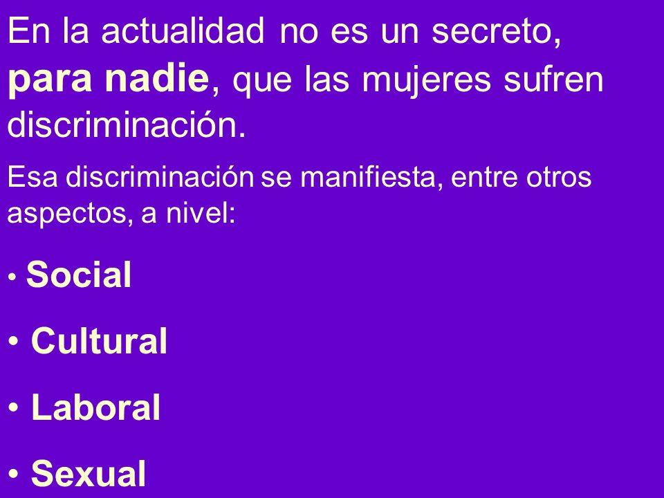 En la actualidad no es un secreto, para nadie, que las mujeres sufren discriminación.