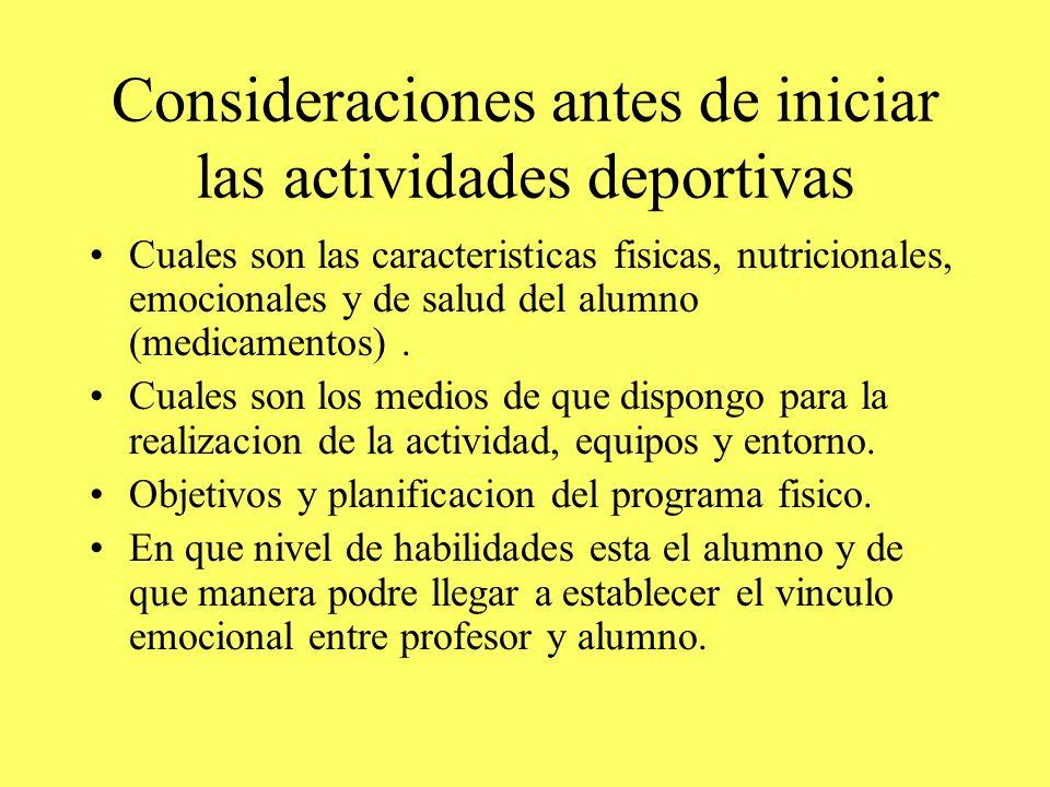Consideraciones antes de iniciar las actividades deportivas Cuales son las caracteristicas fisicas, nutricionales, emocionales y de salud del alumno (