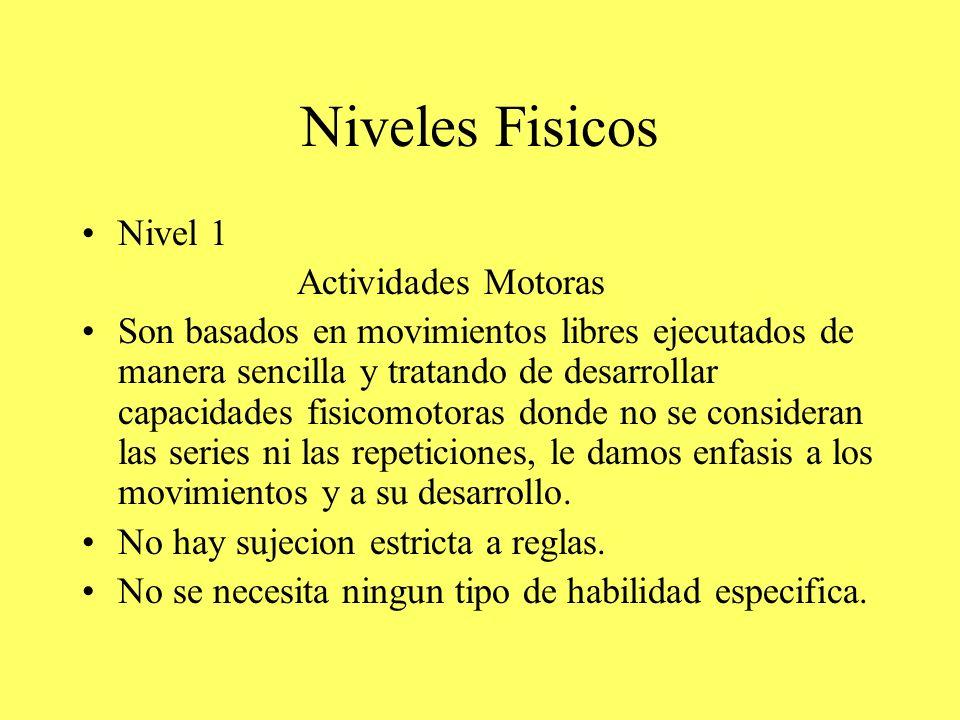 Niveles Fisicos Nivel 1 Actividades Motoras Son basados en movimientos libres ejecutados de manera sencilla y tratando de desarrollar capacidades fisi