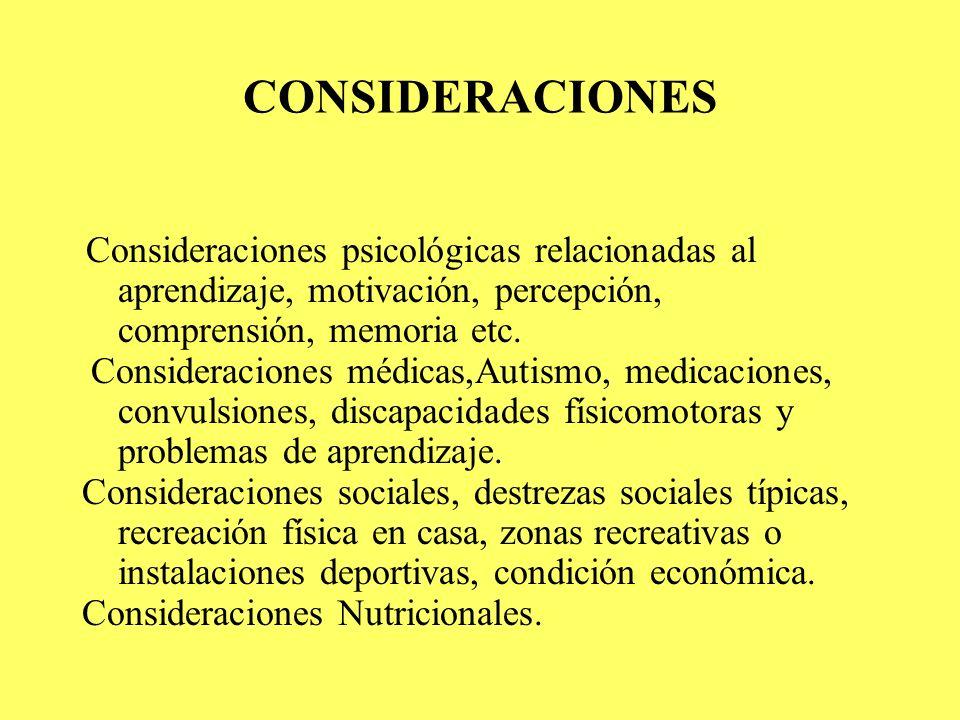 CONSIDERACIONES Consideraciones psicológicas relacionadas al aprendizaje, motivación, percepción, comprensión, memoria etc. Consideraciones médicas,Au