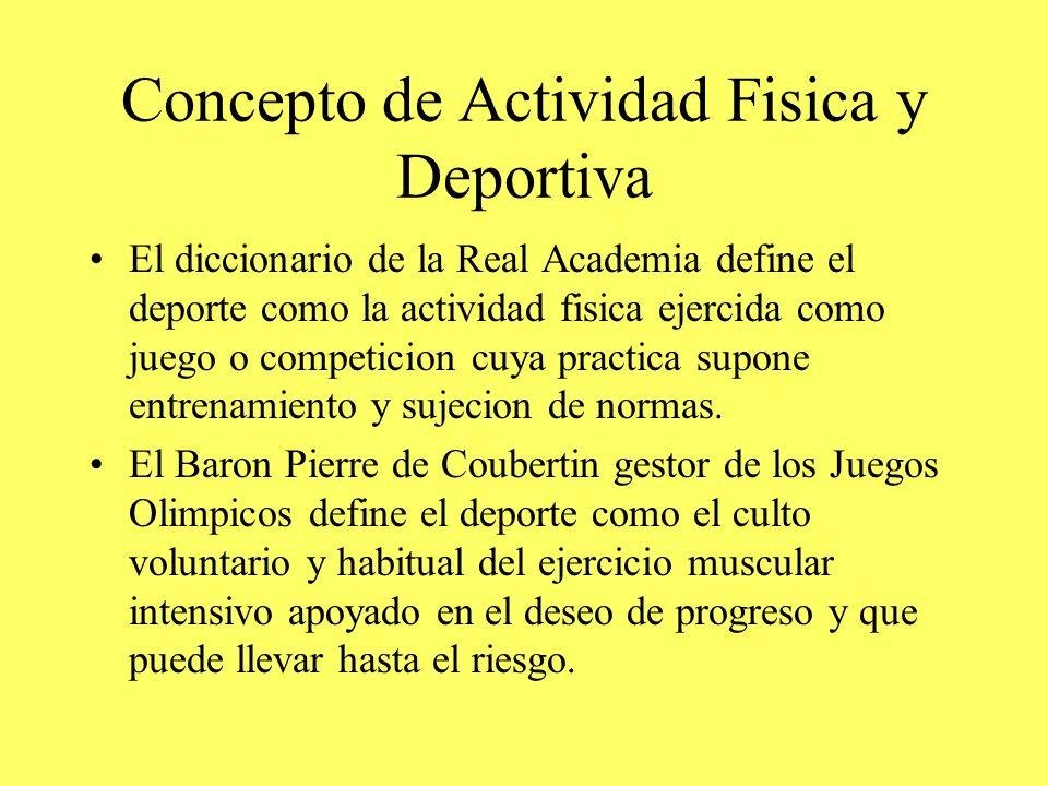 Concepto de Actividad Fisica y Deportiva El diccionario de la Real Academia define el deporte como la actividad fisica ejercida como juego o competici