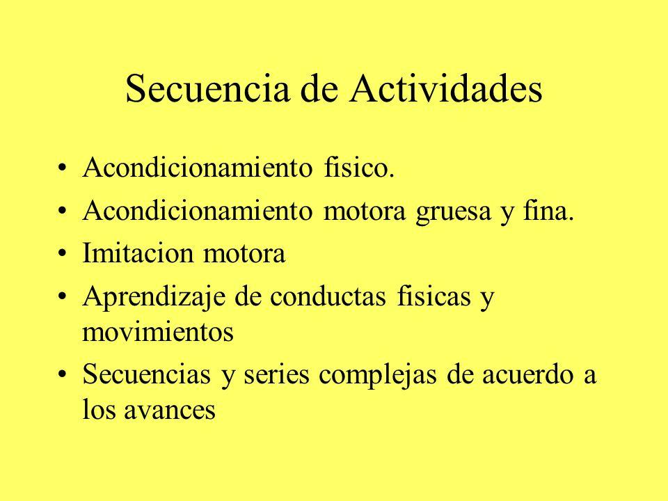 Secuencia de Actividades Acondicionamiento fisico. Acondicionamiento motora gruesa y fina. Imitacion motora Aprendizaje de conductas fisicas y movimie