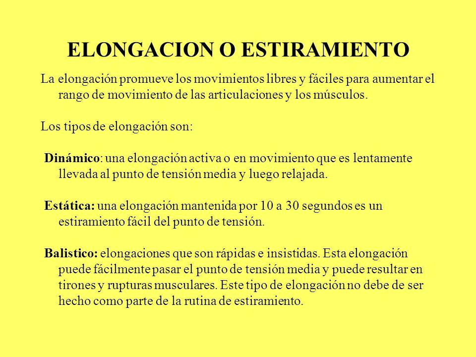 ELONGACION O ESTIRAMIENTO La elongación promueve los movimientos libres y fáciles para aumentar el rango de movimiento de las articulaciones y los mús