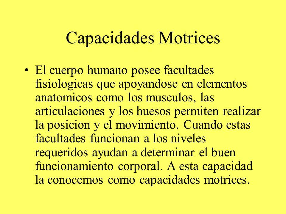Capacidades Motrices El cuerpo humano posee facultades fisiologicas que apoyandose en elementos anatomicos como los musculos, las articulaciones y los