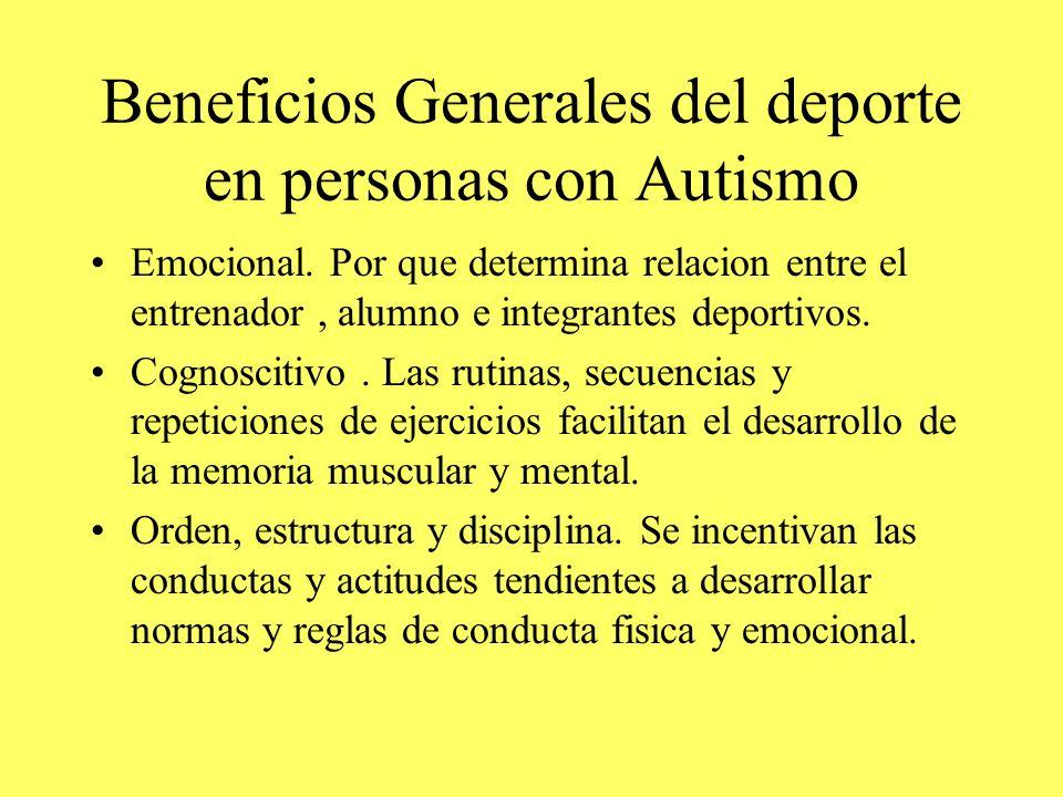 Beneficios Generales del deporte en personas con Autismo Emocional. Por que determina relacion entre el entrenador, alumno e integrantes deportivos. C