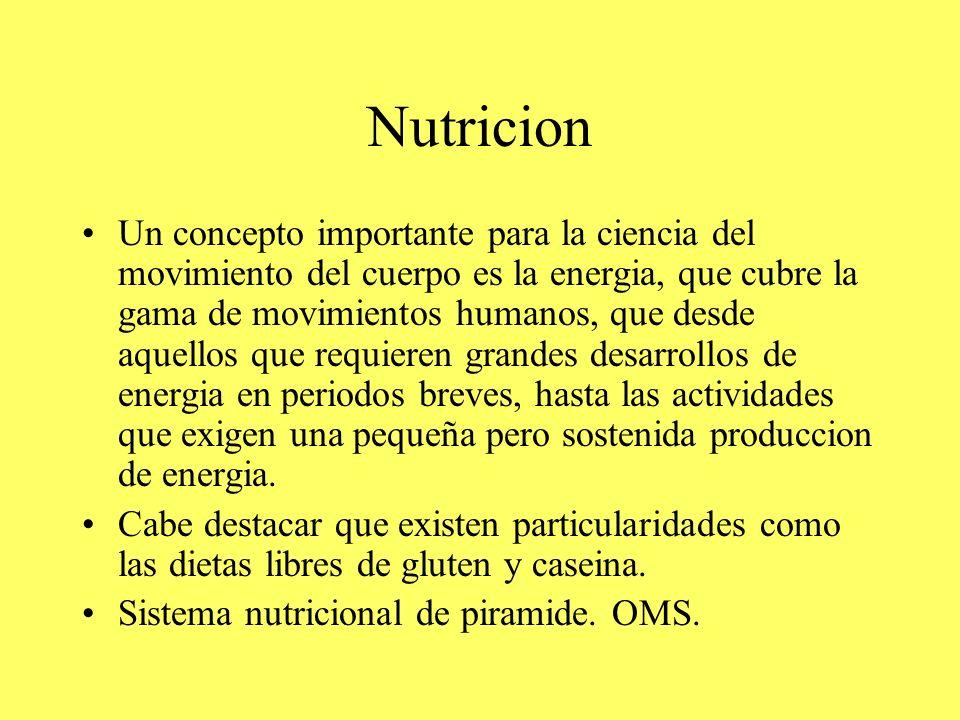 Nutricion Un concepto importante para la ciencia del movimiento del cuerpo es la energia, que cubre la gama de movimientos humanos, que desde aquellos