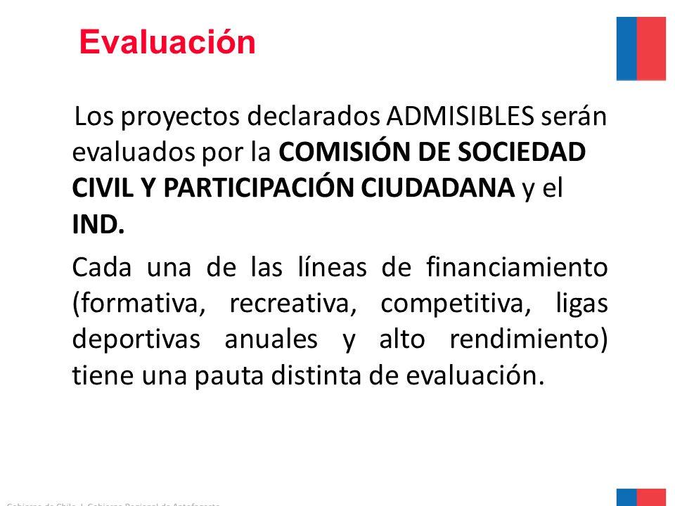 Evaluación Los proyectos declarados ADMISIBLES serán evaluados por la COMISIÓN DE SOCIEDAD CIVIL Y PARTICIPACIÓN CIUDADANA y el IND.