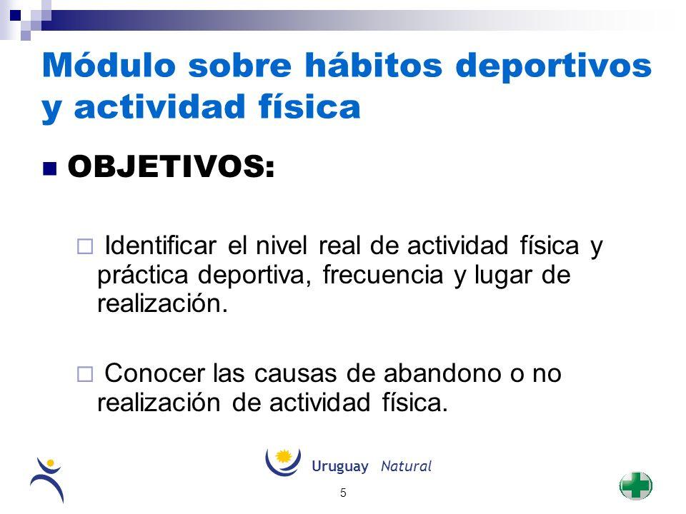 UruguayNatural 5 Módulo sobre hábitos deportivos y actividad física OBJETIVOS: Identificar el nivel real de actividad física y práctica deportiva, fre