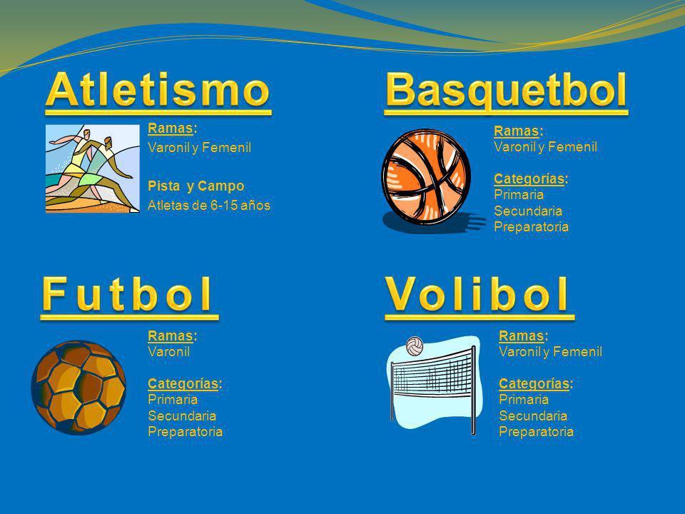 Ramas: Varonil y Femenil Pista y Campo Atletas de 6-15 años Ramas: Varonil y Femenil Categorías: Primaria Secundaria Preparatoria Ramas: Varonil Categ