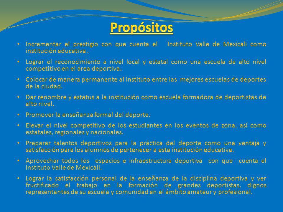 Incrementar el prestigio con que cuenta el Instituto Valle de Mexicali como institución educativa. Lograr el reconocimiento a nivel local y estatal co
