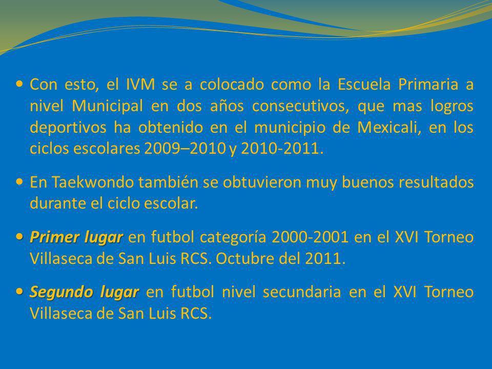Con esto, el IVM se a colocado como la Escuela Primaria a nivel Municipal en dos años consecutivos, que mas logros deportivos ha obtenido en el munici
