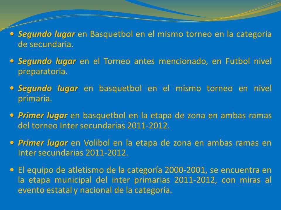 Segundo lugar Segundo lugar en Basquetbol en el mismo torneo en la categoría de secundaria. Segundo lugar Segundo lugar en el Torneo antes mencionado,