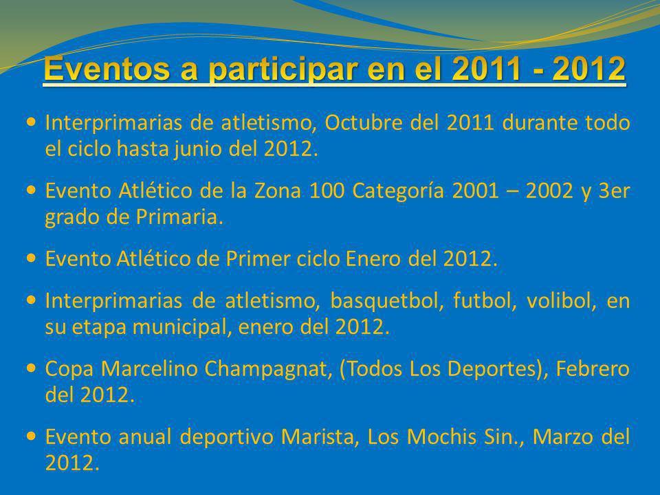 Interprimarias de atletismo, Octubre del 2011 durante todo el ciclo hasta junio del 2012. Evento Atlético de la Zona 100 Categoría 2001 – 2002 y 3er g