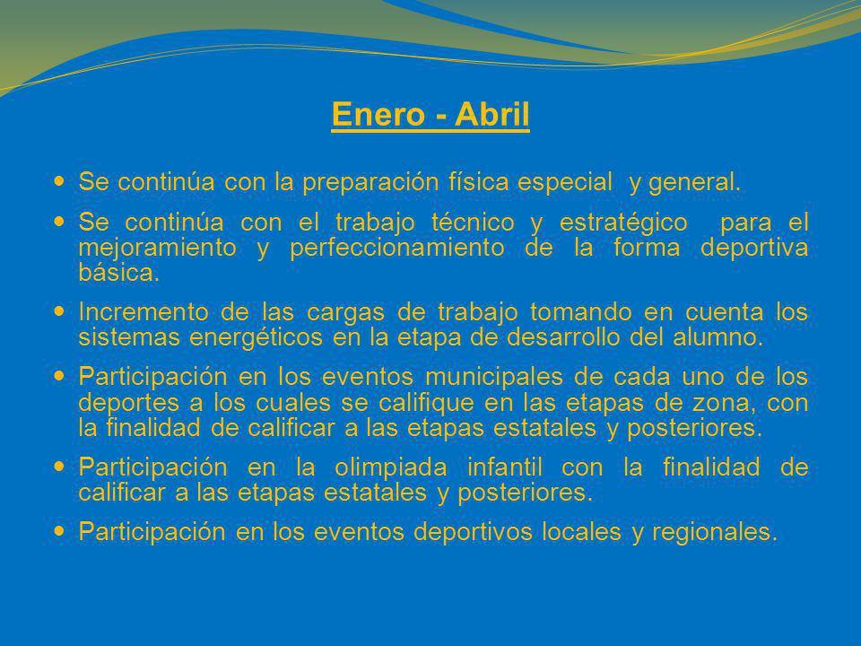 Enero - Abril Se continúa con la preparación física especial y general. Se continúa con el trabajo técnico y estratégico para el mejoramiento y perfec