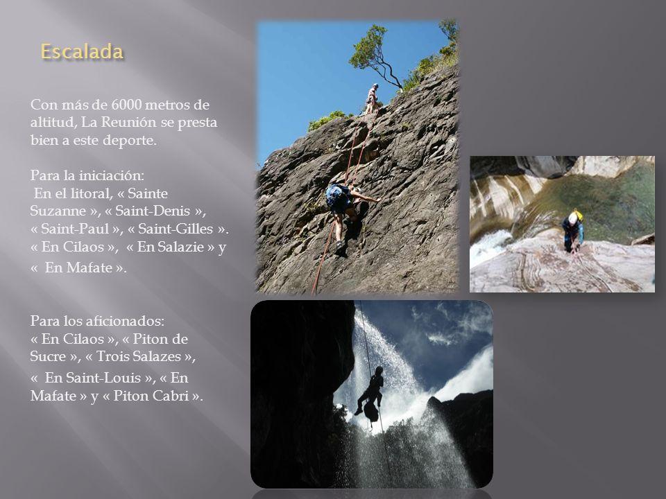 Escalada Con más de 6000 metros de altitud, La Reunión se presta bien a este deporte.