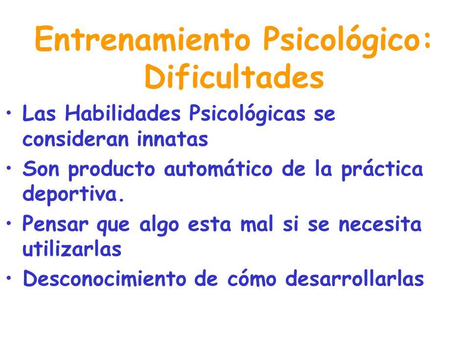 HABILIDADES PSICOLÓGICAS A ENTRENAR MANEJO DE LA ANSIEDAD CONFIANZA CONCENTRACIÓN CONTROL DE PENSAMIENTOS MOTIVACIÓN RELAJACIÓN CAPACIDAD DE IMAGINACI