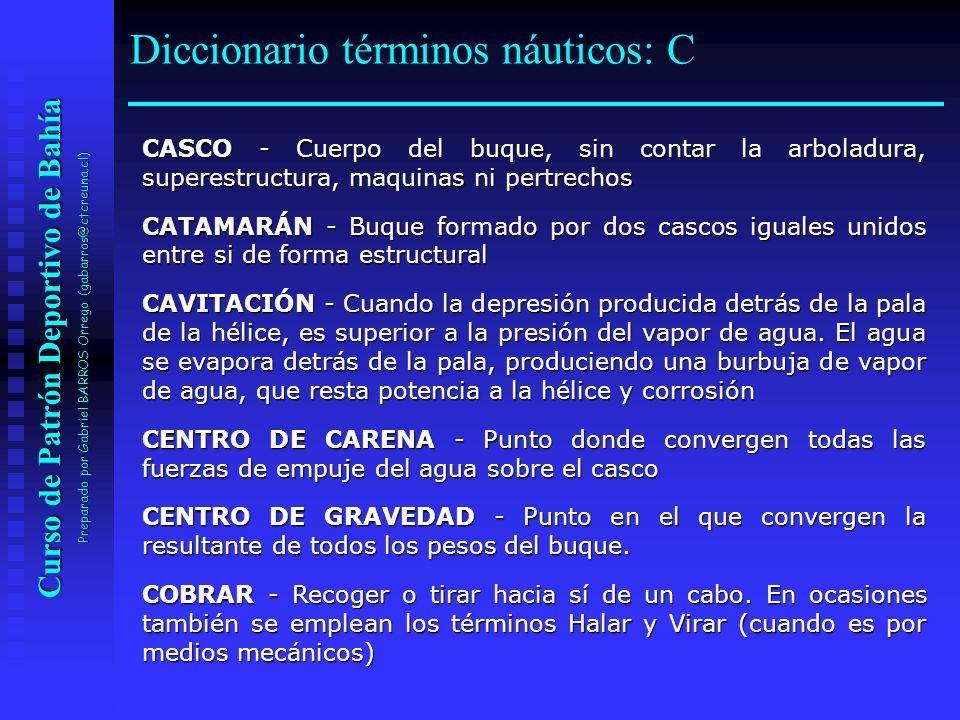 Curso de Patrón Deportivo de Bahía Preparado por Gabriel BARROS Orrego (gabarros@ctcreuna.cl) CASCO - Cuerpo del buque, sin contar la arboladura, supe