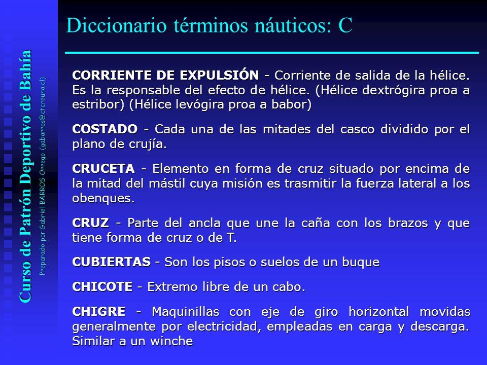 Curso de Patrón Deportivo de Bahía Preparado por Gabriel BARROS Orrego (gabarros@ctcreuna.cl) CORRIENTE DE EXPULSIÓN - Corriente de salida de la hélic