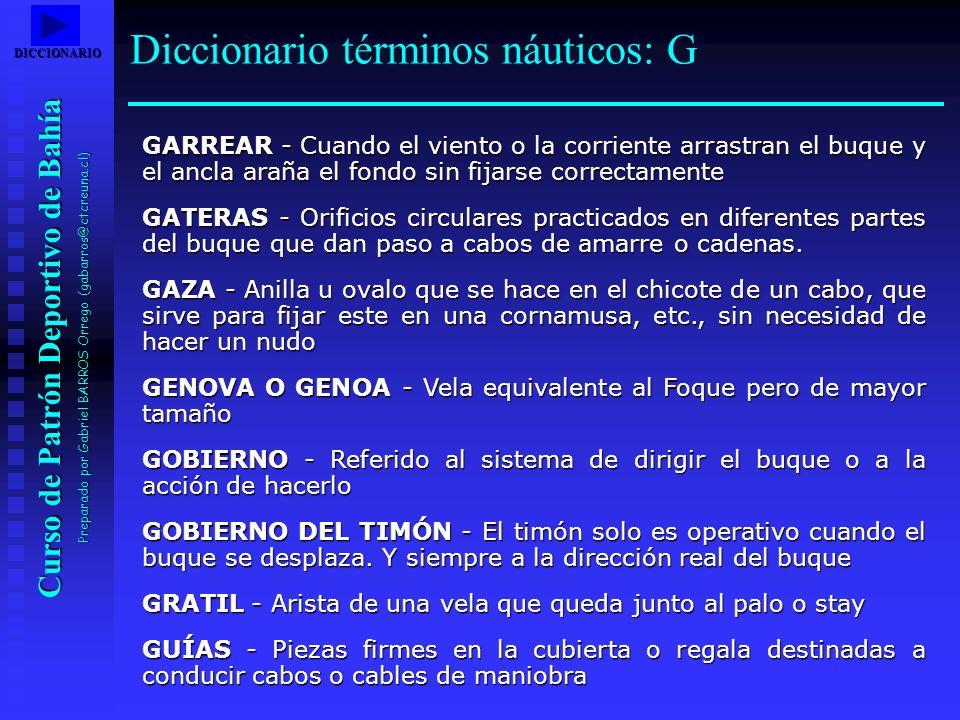 Curso de Patrón Deportivo de Bahía Preparado por Gabriel BARROS Orrego (gabarros@ctcreuna.cl) GARREAR - Cuando el viento o la corriente arrastran el b