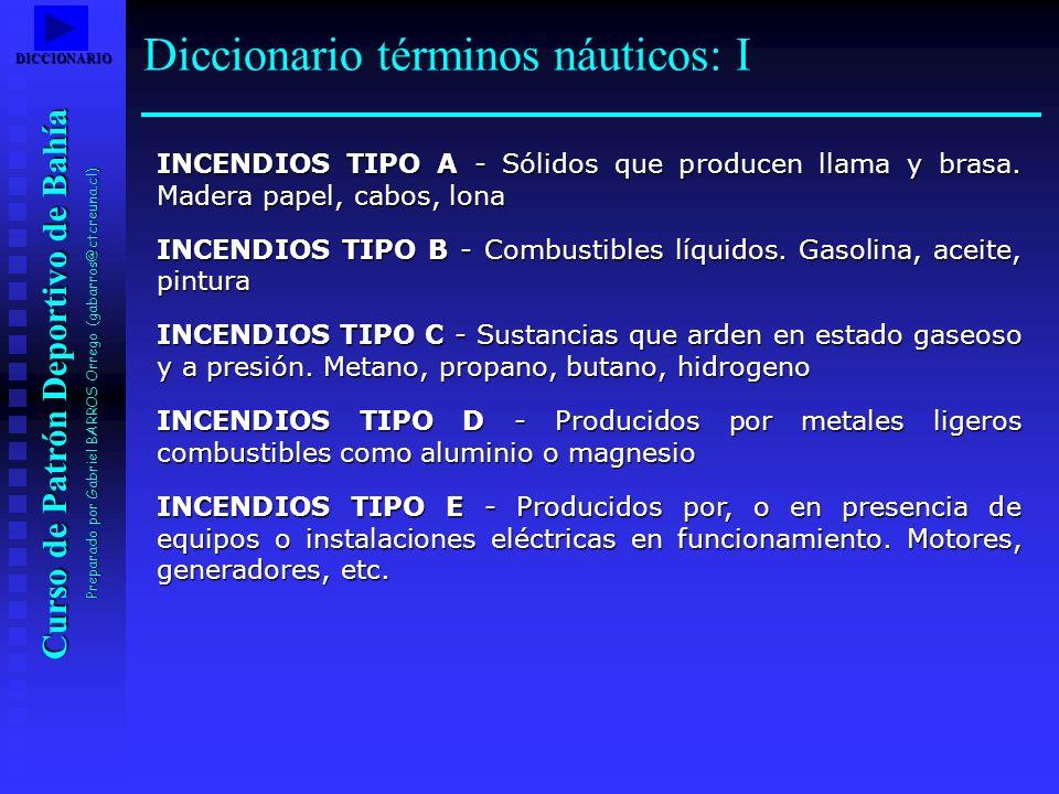 Curso de Patrón Deportivo de Bahía Preparado por Gabriel BARROS Orrego (gabarros@ctcreuna.cl) INCENDIOS TIPO A - Sólidos que producen llama y brasa. M