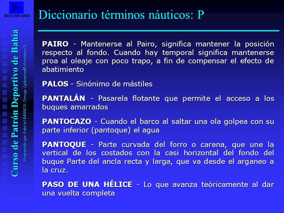 Curso de Patrón Deportivo de Bahía Preparado por Gabriel BARROS Orrego (gabarros@ctcreuna.cl) PAIRO - Mantenerse al Pairo, significa mantener la posic
