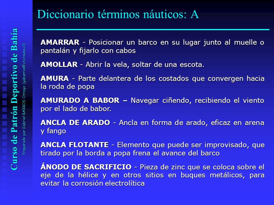 Curso de Patrón Deportivo de Bahía Preparado por Gabriel BARROS Orrego (gabarros@ctcreuna.cl) DEFENSA - Elemento blando que se interpone entre dos barcos o entre un buque y un muelle, pantalán, etc., con objeto de evitar que friccione.