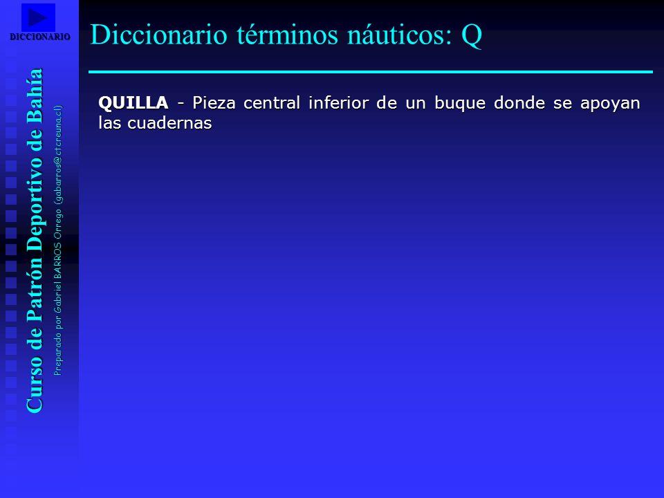 Curso de Patrón Deportivo de Bahía Preparado por Gabriel BARROS Orrego (gabarros@ctcreuna.cl) QUILLA - Pieza central inferior de un buque donde se apo