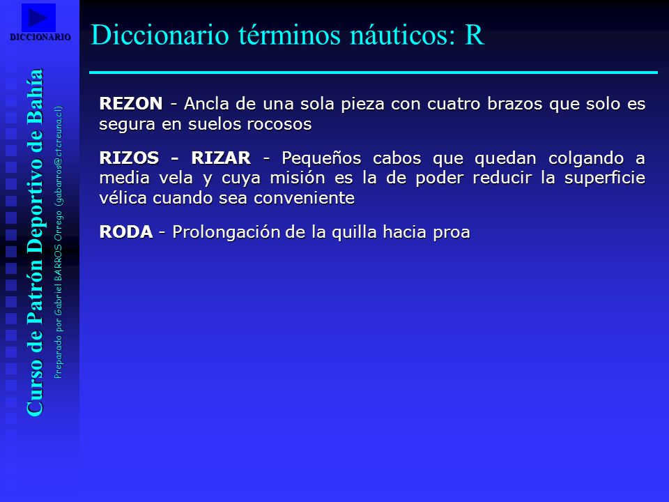 Curso de Patrón Deportivo de Bahía Preparado por Gabriel BARROS Orrego (gabarros@ctcreuna.cl) REZON - Ancla de una sola pieza con cuatro brazos que so